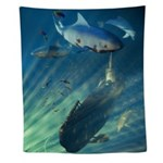 Submarine And Sharks Wall Tapestry