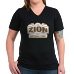 Zion National Park Women's V-Neck Dark T-Shirt