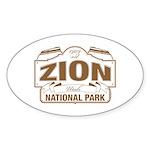 Zion National Park Sticker (Oval 50 pk)