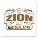 Zion National Park Square Car Magnet 3
