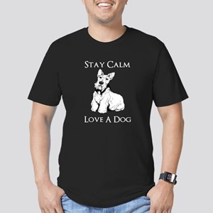 Stay Calm Love A Dog Men's Fitted T-Shirt (dark)