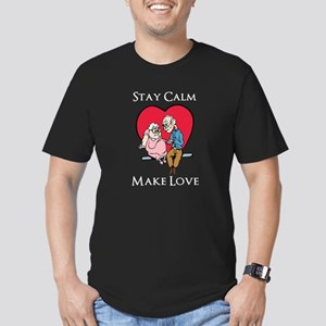 Stay Calm Make Love Men's Fitted T-Shirt (dark)