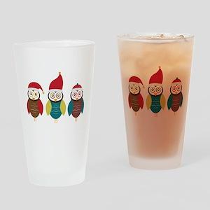 Christmas Owls Drinking Glass