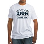 Zion National Park Blue Sign Fitted T-Shirt