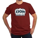 Zion National Park Blue Sign Men's Fitted T-Shirt