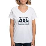 Zion National Park Blue Sign Women's V-Neck T-Shir