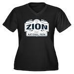 Zion National Park Blue Sign Women's Plus Size V-N