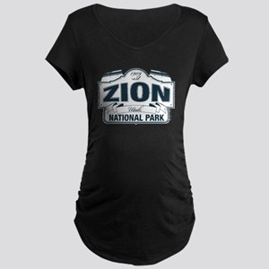 Zion National Park Blue Sign Maternity Dark T-Shir