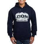 Zion National Park Blue Sign Hoodie (dark)