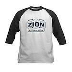 Zion National Park Blue Sign Kids Baseball Jersey