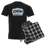 Zion National Park Blue Sign Men's Dark Pajamas