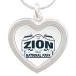 Zion National Park Blue Sign Silver Heart Necklace