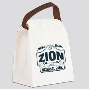 Zion National Park Blue Sign Canvas Lunch Bag