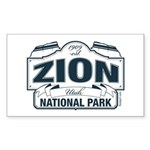 Zion National Park Blue Sign Sticker (Rectangle)