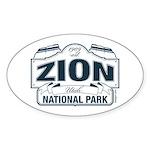 Zion National Park Blue Sign Sticker (Oval)