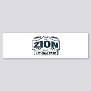 Zion National Park Blue Sign Sticker (Bumper)