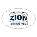 Zion National Park Blue Sign Sticker (Oval 10 pk)