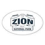 Zion National Park Blue Sign Sticker (Oval 50 pk)