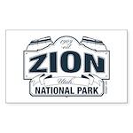 Zion National Park Blue Sign Sticker (Rectangle 10
