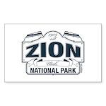 Zion National Park Blue Sign Sticker (Rectangle 50