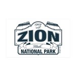 Zion National Park Blue Sign 35x21 Wall Decal