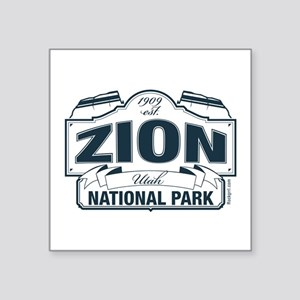 "Zion National Park Blue Sign Square Sticker 3"" x 3"