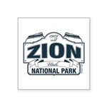 Zion National Park Blue Sign Square Sticker 3