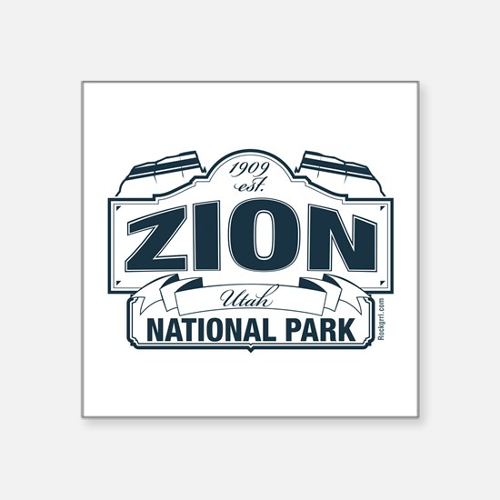 "Zion National Park Blue Sign Square Sticker 3"" x 3"