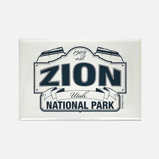 Zion National Park Blue Sign Rectangle Magnet