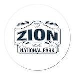 Zion National Park Blue Sign Round Car Magnet