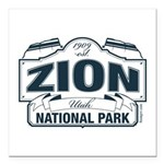Zion National Park Blue Sign Square Car Magnet 3