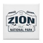 Zion National Park Blue Sign Tile Coaster
