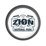 Zion National Park Blue Sign Wall Clock