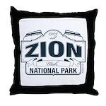 Zion National Park Blue Sign Throw Pillow