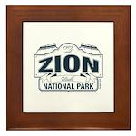Zion National Park Blue Sign Framed Tile