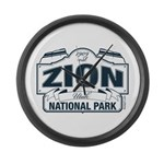 Zion National Park Blue Sign Large Wall Clock