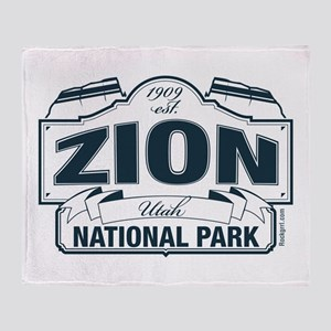 Zion National Park Blue Sign Throw Blanket