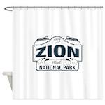 Zion National Park Blue Sign Shower Curtain
