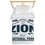 Zion National Park Blue Sign Twin Duvet