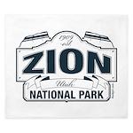 Zion National Park Blue Sign King Duvet