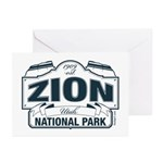 Zion National Park Blue Sign Greeting Cards (Pk of