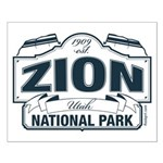 Zion National Park Blue Sign Small Poster