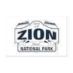 Zion National Park Blue Sign Mini Poster Print