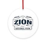 Zion National Park Blue Sign Ornament (Round)