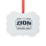 Zion National Park Blue Sign Picture Ornament