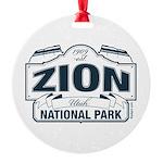 Zion National Park Blue Sign Round Ornament