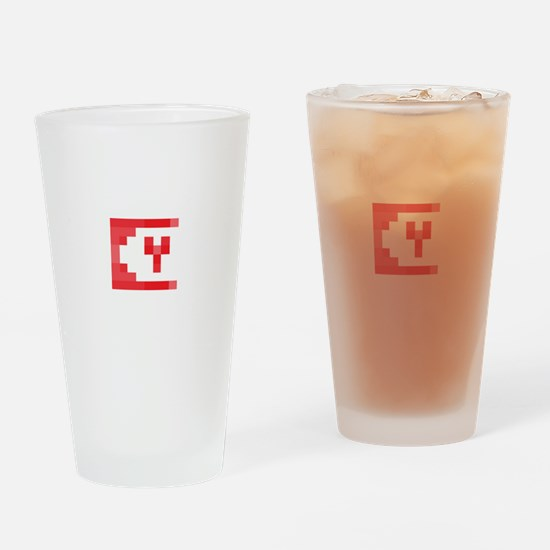 Cute Yeti Network Emblem (Red) Drinking Glass