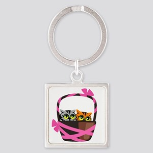 Curious Kitties Square Keychain