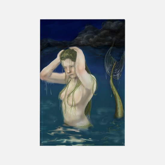 Mermaid In the Water Rectangle Magnet