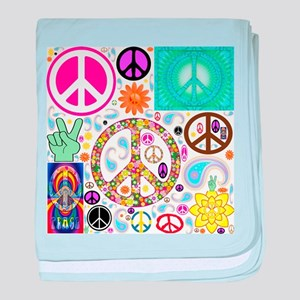 Peace Paisley Collage baby blanket